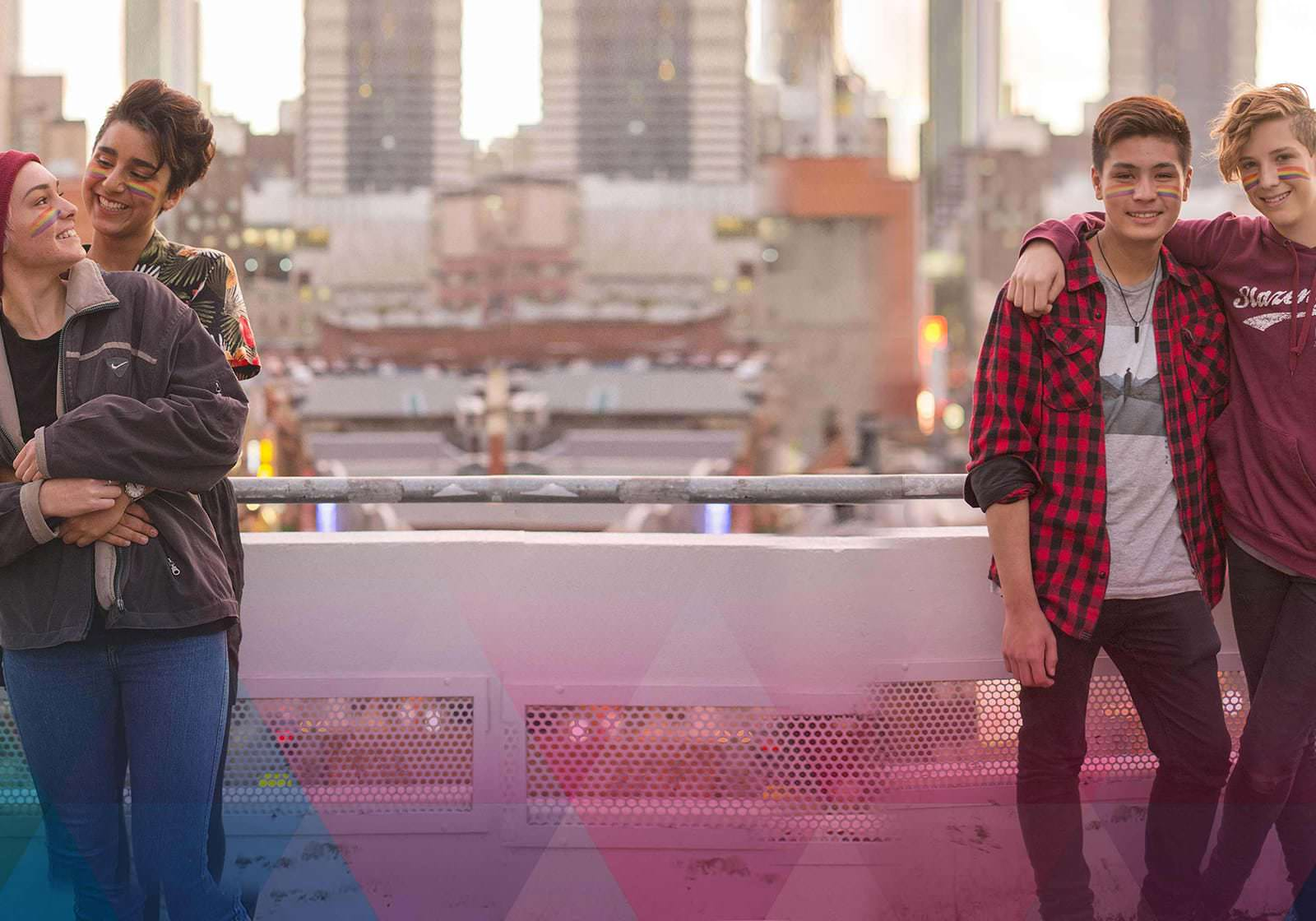 Queer couples on rooftop