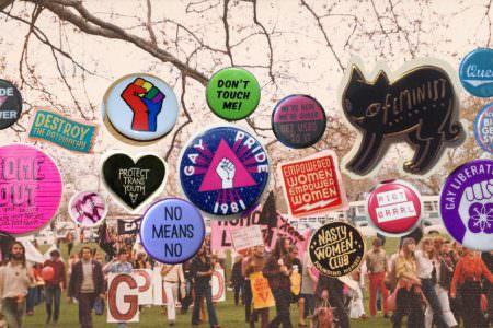 LGBTIQ badges over a photo of LGBTIQ activists marching