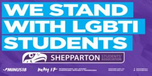 "Image of a Flyer for the event saying ""we stand with LGBTI students"""