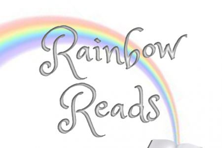 "A rainbow coming out of a book with text saying ""Rainbow Reads"""