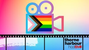 Graphic image of a film projector with a progressive rainbow flag at its centre, with a strip of film down the bottom of the banner and a Thorne Harbour Health logo in bottom right corner. All on a soft rainbow background.